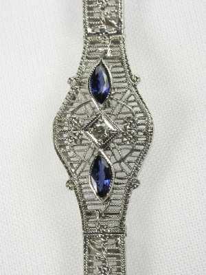 Antique Sapphire and Diamond Filigree Bracelet