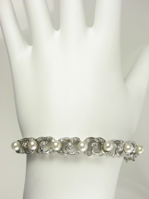 Antique Pearl and Diamond Bangle Bracelet