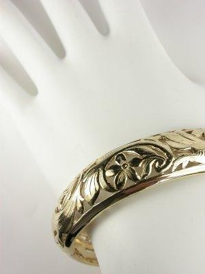 Bangle Bracelet with Floral Motif