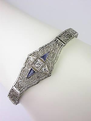1920s Filigree Sapphire and Diamond Bracelet