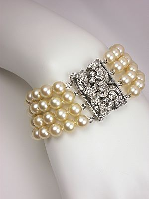 Antique Pearl and Diamond Bracelet