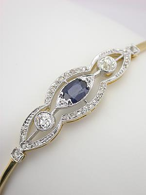 Edwardian Sapphire and Diamond Antique Bracelet