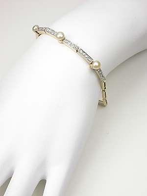 Vintage Pearl and Diamond Bracelet