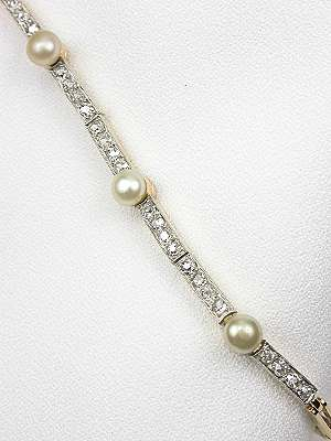 Vintage Pearl and Diamond Bracelet