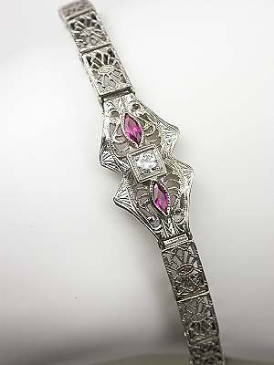 Filigree and Ruby Vintage Bracelet