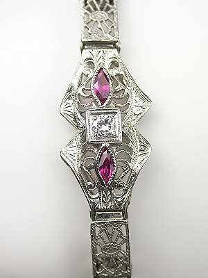Art Deco Filigree and Ruby Bracelet