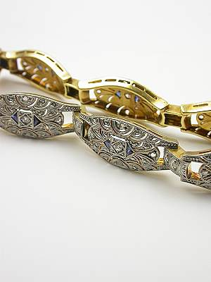 Filigree Sapphire and Diamond Vintage Bracelet