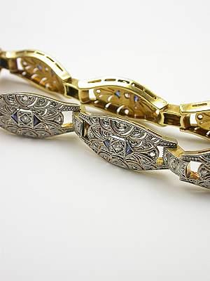 Filigree Sapphire and Diamond Vintage Bracelet