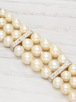 Antique Three Strand Pearl and Diamond Bracelet