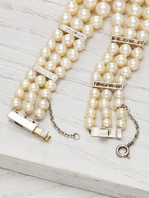 Antique Three Strand Pearl and Diamond Bracelet