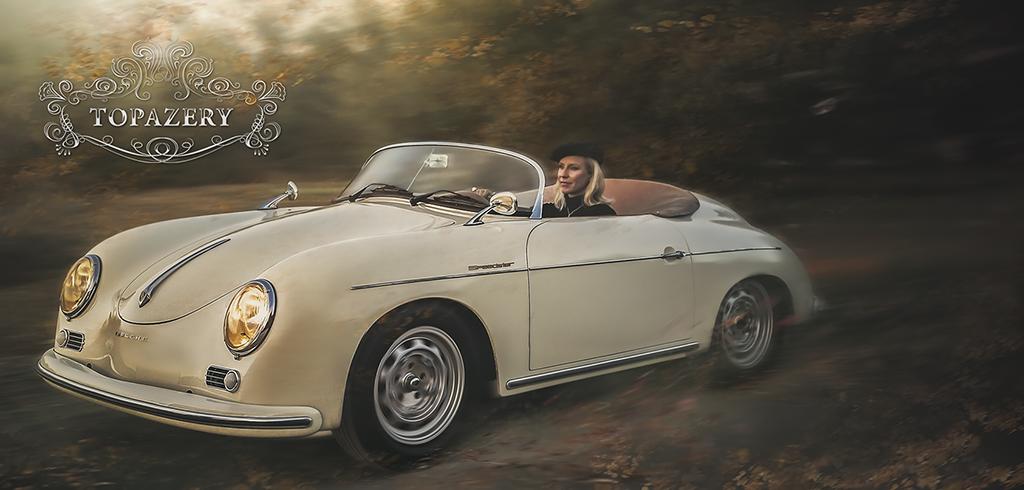 Brandi Tobias in a Porsche Speedster