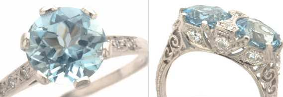 Aquamarine Engagement Rings in antique, vintage, estate, and antique styles