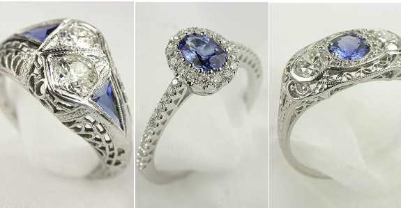 Sapphire Engagement Rings in antique, vintage, estate, and antique styles