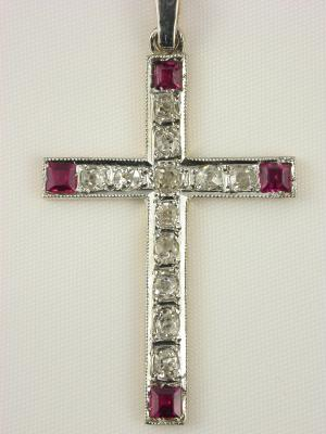 1930s Antique Ruby and Diamond Cross