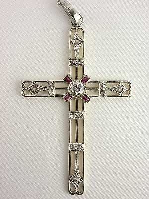 Handwrought Ruby and Diamond Vintage Cross