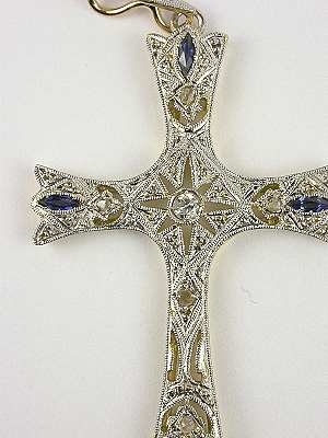 Edwardian Style Sapphire and Filigree Cross