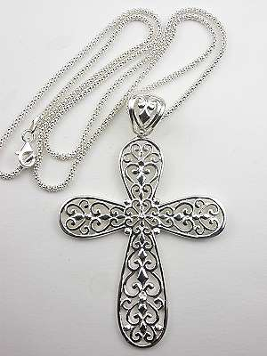 Filigree Vintage Style Cross Necklace Cr 3523