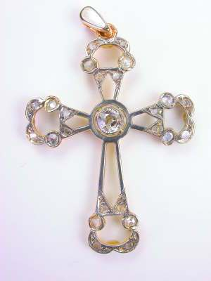 Victorian  Vintage Cross with Old Cut Diamonds