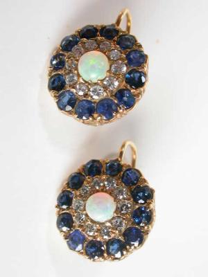 Edwardian Sapphire, Opal, and Diamond Earrings