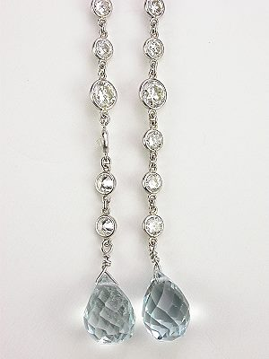 Antique Style Aquamarine Dangle Earrings