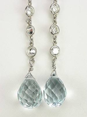 Vintage Style Aquamarine Dangle Earrings