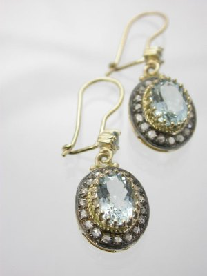 Aquamarine Victorian Antique Style Earrings
