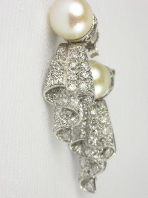 Estate Diamond and  Pearl Earrings