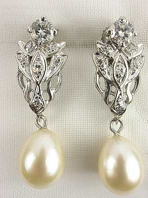 Pearl and Diamond Antique Earrings