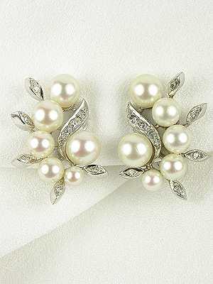 1950's Pearl and Diamond Earrings