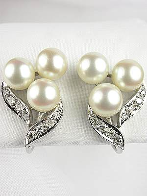 Antique Pearl Earrings with Spray Design