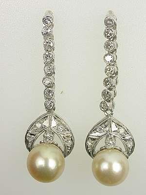 Antique Art Deco Pearl Dangle Earrings