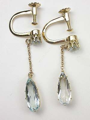 Vintage Aquamarine Dangle Earrings