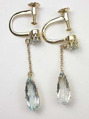 Vintage Aquamarine Dangle Earrings