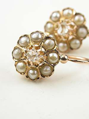 Victorian Pearl and Diamond Earrings