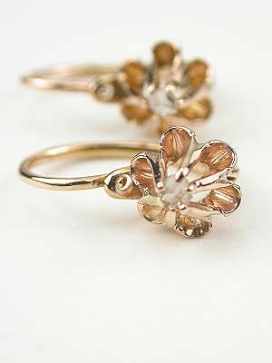 Antique Rose Gold and Diamond Earrings