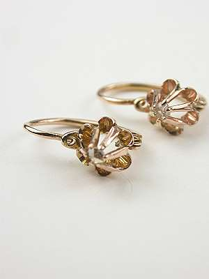 Rose Gold and Diamond Victorian Earrings