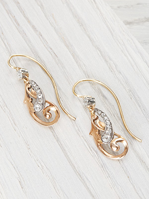 Arts and Crafts Diamond Earrings in Rose Gold