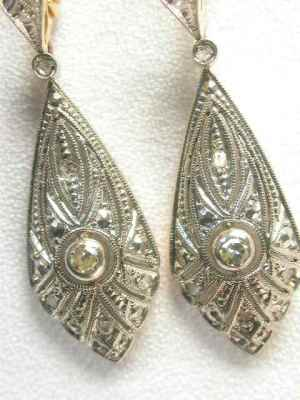 Art Deco Diamond Dangle Earrings