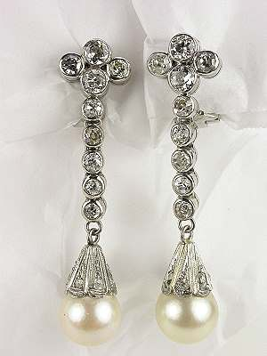 Pearl and Diamond Dangle Antique Earrings