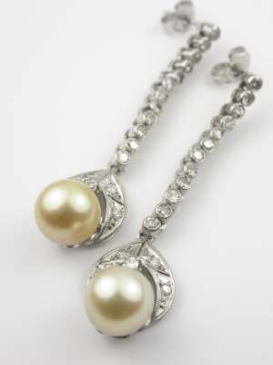 Pearl and Diamond Vintage Earrings