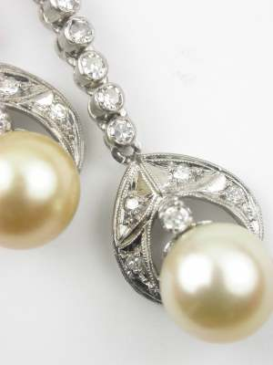 Art Deco Pearl Drop Antique Earrings