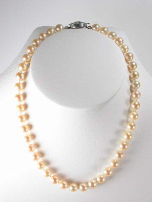 Pearl Necklace with Filigree Clasp