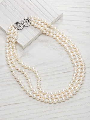 Three Strand Vintage Pearl Necklace with Diamond Clasp