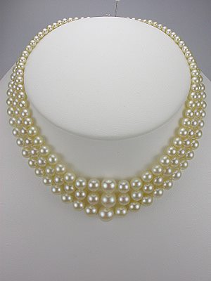 Vintage 1950's Three Strand Pearl Necklace with Diamond Clasp