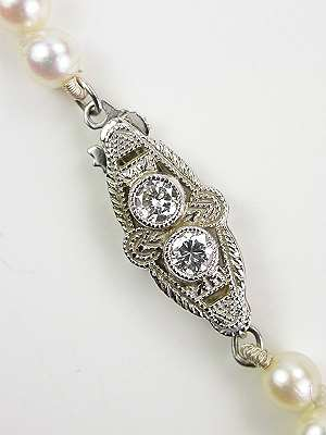 Antique Pearl Necklace with Filigree Diamond Clasp