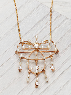 Victorian Style Pearl and Diamond Necklace