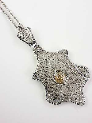 Edwardian Filigree Antique Pendant