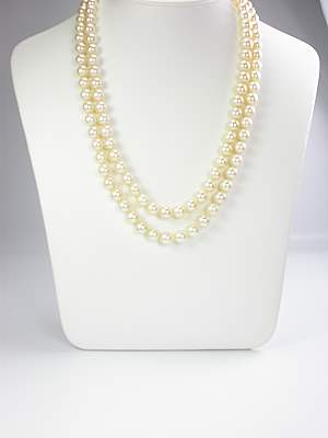 Double Strand Vintage Pearl and Diamond Necklace