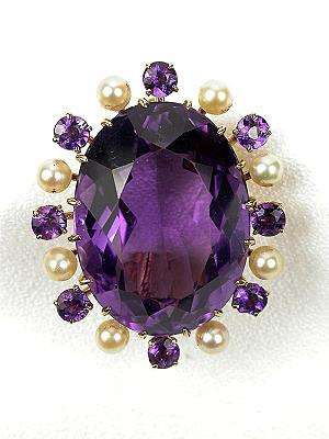 Arts and Crafts Amethyst and Pearl Brooch