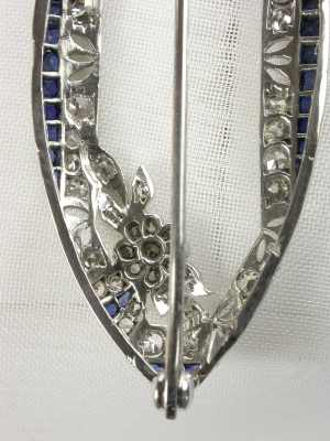 Edwardian Sapphire and Diamond Pin